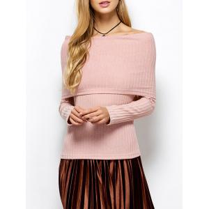 Foldover Off The Shoulder Ribbed Jumper - Light Apricot Pink - S