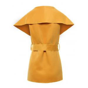 Shawl Collar Belted Wrap Waistcoat - YELLOW XL