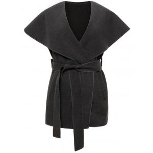 Shawl Collar Belted Wrap Waistcoat