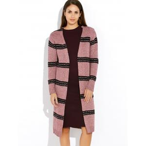 Vintage Thick Stripe  Long Sleeve Cardigan - PINK ONE SIZE
