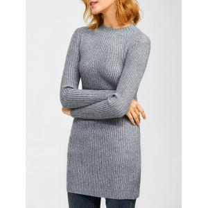High Neck Long Sleeve Ribbed Jumper Dress - Gray - One Size