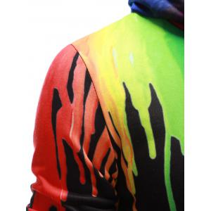 Drawstring Paint Dripping Hoodie - BLACK XL
