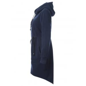 Drawstring Long Zip Up Hoodie with Pockets -