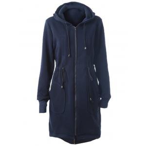 Drawstring Long Zip Up Hoodie with Pockets