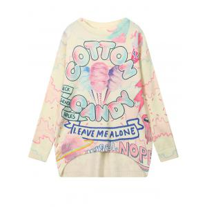 High Low Cartoon Graphic Pattern Sweater - Colormix - One Size