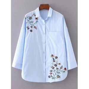 Flower Embroidered Shirt