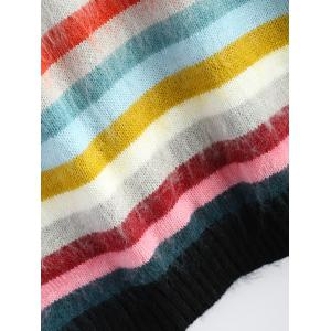 Plus Size Multicolor Striped Sweater - COLORFUL 3XL