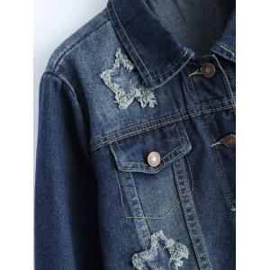 Plus Size Buttoned Star Graphic Jean Jacket -