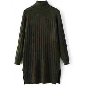 Turtleneck Side Slit Ribbed Knit Sweater