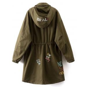 Hooded Lightweight Coat With Pockets - ARMY GREEN L
