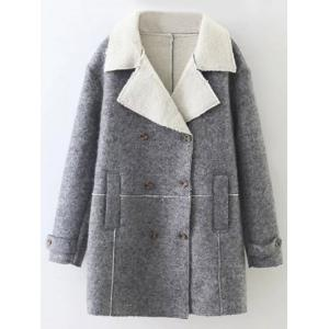 Lapel Wool Blend Double Breasted Coat