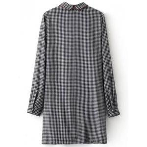 Casual Long Sleeve Checked Mini Polo Shirt Dress - WHITE AND BLACK L