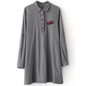 Casual Long Sleeve Checked Mini Polo Shirt Dress - White And Black - S