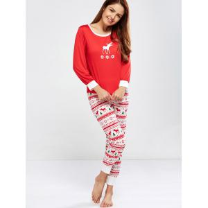 Christmas Deer Print Pajamas Sleepwear Sets - RED XL