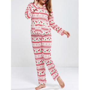 Deer Print Christmas Pajamas Sleepwear Sets