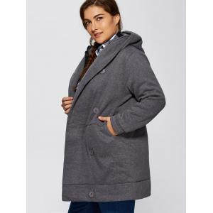 Hooded Fleece Double-Breasted Coat - GRAY ONE SIZE