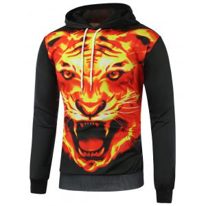 Fierce Fire Tiger Printed Pullover Hoodie
