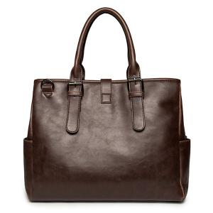 PU Leather Buckle Double Pocket Briefcase - COFFEE