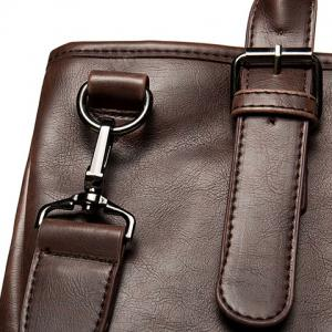PU Leather Buckle Double Pocket Briefcase -