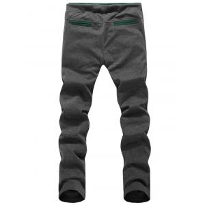 Embroidered Patch Contrast Pocket Drawstring Pants - DEEP GRAY 3XL