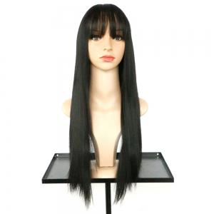 Long Full Bang Straight Synthetic Wig - BLACK