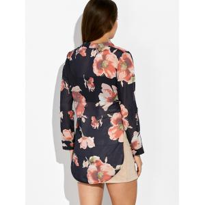 Floral Print High Low Blouse - PURPLISH BLUE M