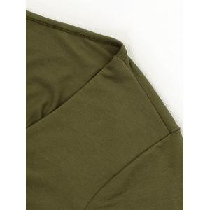 Wrap Front Long Sleeve Tie Crop Top - ARMY GREEN XL