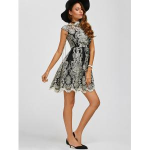 Arab Totem Embroidery High Waist Lace Skater Dress -