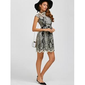 Arab Totem Embroidery High Waist Lace Skater Dress - BLACK S