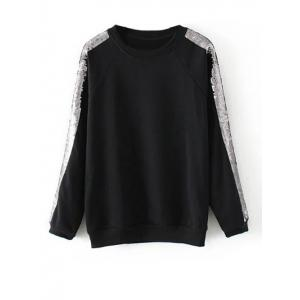 Sweat à manches raglan de sequins - Noir M