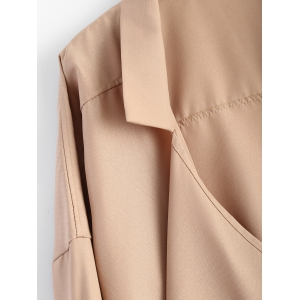 Pointed Hem Plus Size Trench Coat -