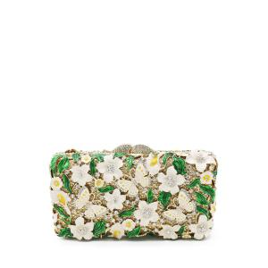 Butterfly Flower Rhinestone Evening Bag - White - 8