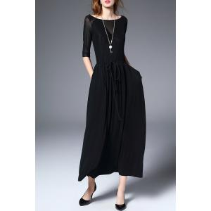 Boat Neck Maxi A Line Dress