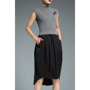 Asymmetric Hem Striped Insert Knitted Dress