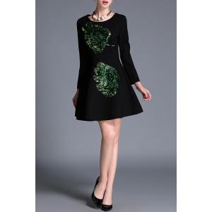 Sequin Long Sleeve A Line Dress -