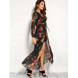 Chiffon Floral Maxi Split Sheer Kimono Wrap Dress - BLACK S