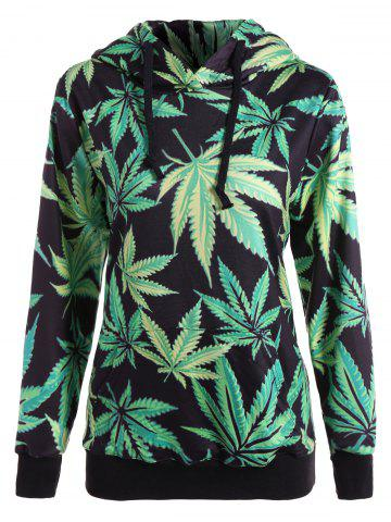 Affordable Maple Leaf Print Pullover Hoodie