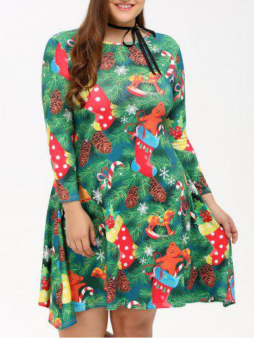 New Plus Size Christmas Tree Print Party Dress GREEN 4XL