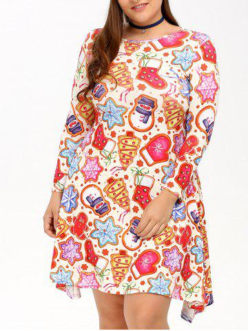 Shop Cookie Print Swing Dress COLORMIX 4XL
