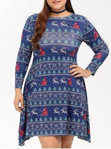 Outfit Christmas Graphic Swing Dress DEEP BLUE 4XL