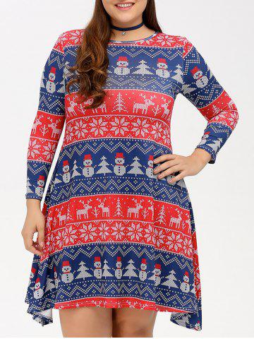 Trendy Christmas Snowman Print Swing Dress BLUE AND RED 4XL