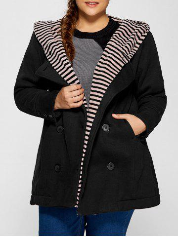 Chic Double-Breasted Striped Spliced Hooded Peacoat