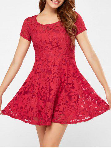 Outfit Mini Mesh Sheer Lace Club Short Prom Dress RED L