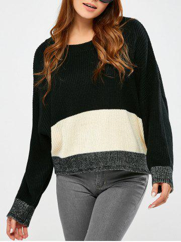 Hot Round Collar Color Block Pullover Sweater