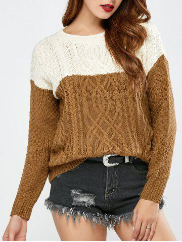 Hot Color Block Pullover Cable Sweater
