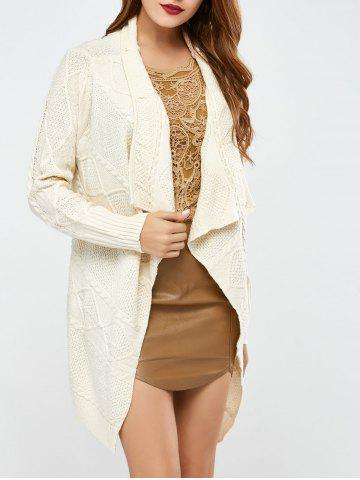 Hot Long Sleeve Asymmetrical Long Open Front Cardigan WHITE ONE SIZE