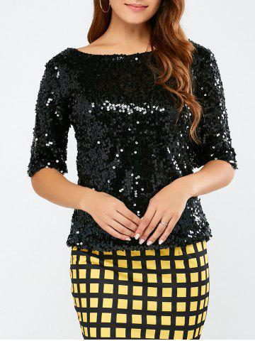Cheap Sequined Short Sleeve Sparkly T-Shirt