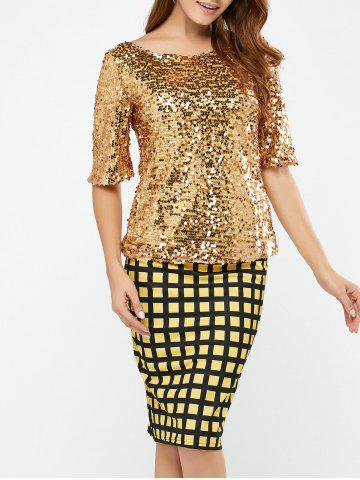 Store Sequined Short Sleeve Sparkly T-Shirt GOLDEN M
