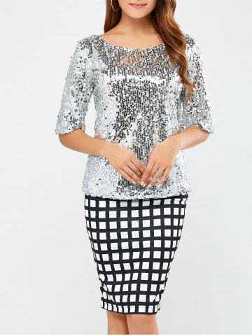 Unique Sequined Short Sleeve Sparkly T-Shirt SILVER L