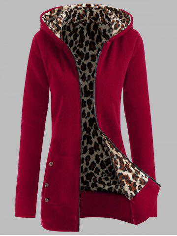 Plus Size Leopard Pattern Fur-Lined Coat - Deep Red - L